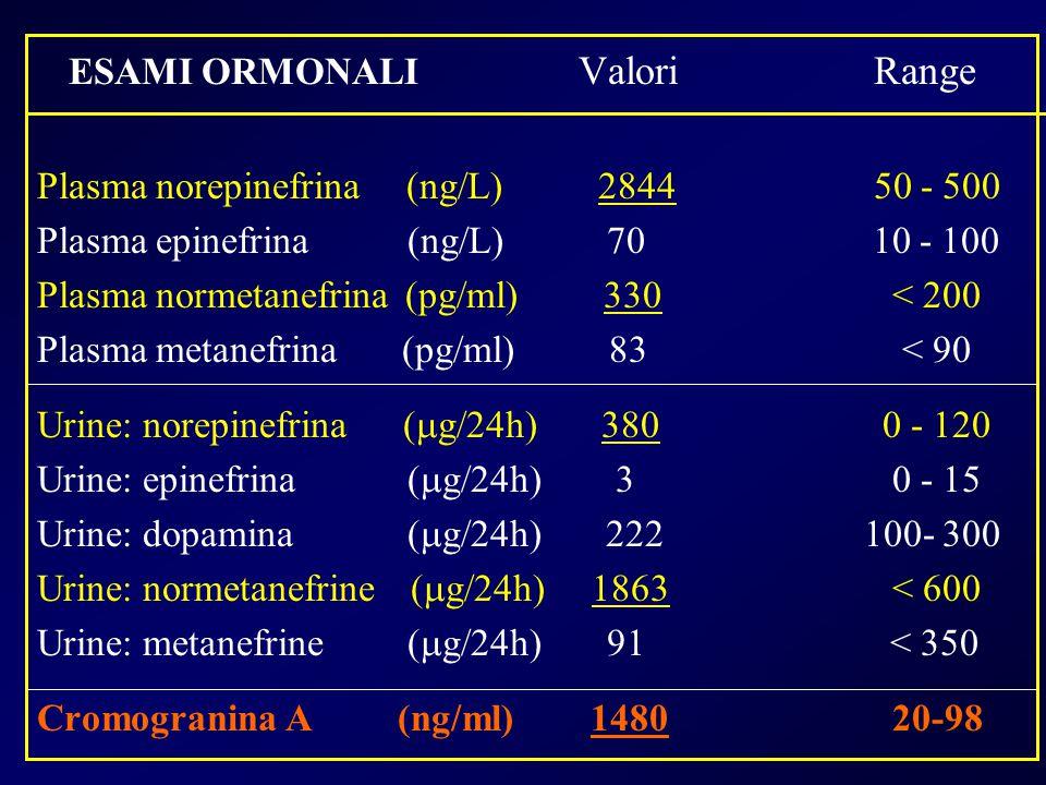 ESAMI ORMONALI Valori Range Plasma norepinefrina (ng/L) 284450 - 500 Plasma epinefrina (ng/L) 70 10 - 100 Plasma normetanefrina (pg/ml) 330 < 200 Plas