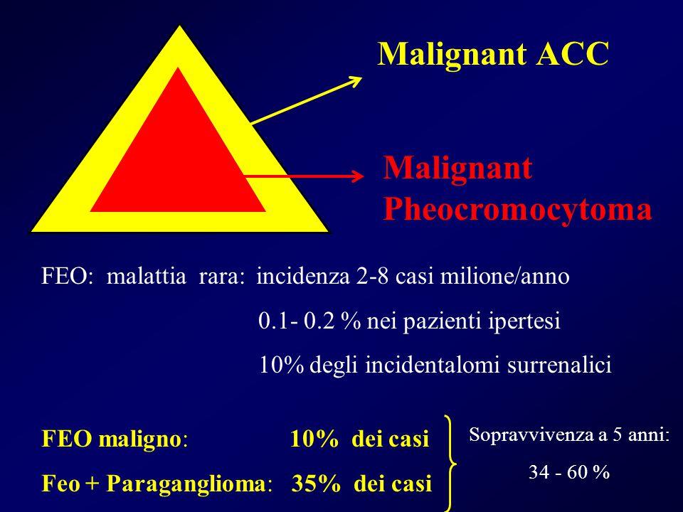 Malignant ACC Malignant Pheocromocytoma FEO: malattia rara: incidenza 2-8 casi milione/anno 0.1- 0.2 % nei pazienti ipertesi 10% degli incidentalomi s