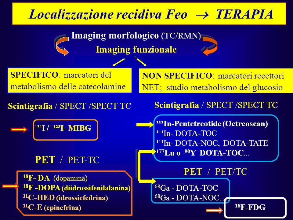 Localizzazione recidiva Feo  TERAPIA Imaging morfologico (TC/RMN) Imaging funzionale SPECIFICO: marcatori del metabolismo delle catecolamine NON SPEC