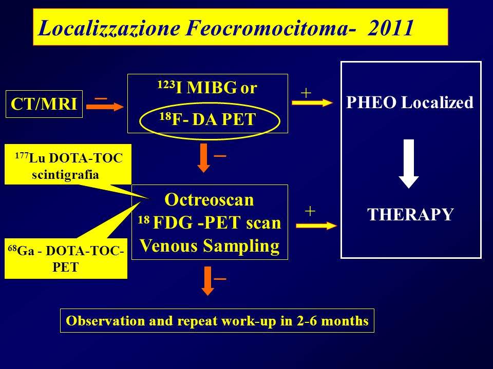 Localizzazione Feocromocitoma- 2011 + CT/MRI 123 I MIBG or 18 F- DA PET Octreoscan 18 FDG -PET scan Venous Sampling PHEO Localized THERAPY + Observation and repeat work-up in 2-6 months 177 Lu DOTA-TOC scintigrafia 68 Ga - DOTA-TOC- PET
