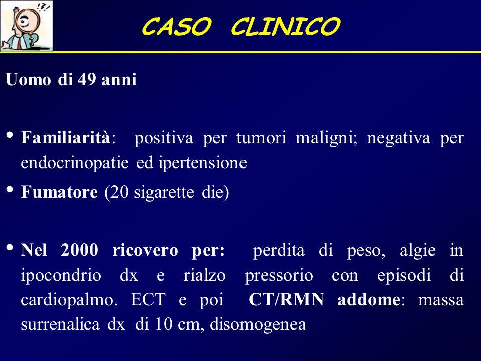 CASO CLINICO Uomo di 49 anni Familiarità: positiva per tumori maligni; negativa per endocrinopatie ed ipertensione Fumatore (20 sigarette die) Nel 200