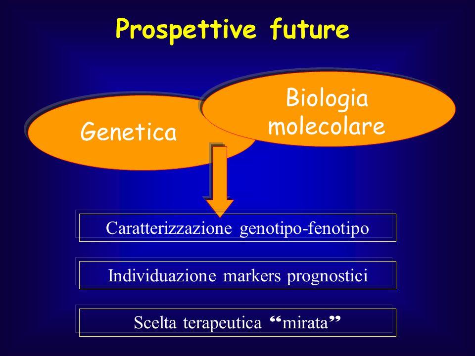 """Genetica Scelta terapeutica """" mirata """" Biologia molecolare Individuazione markers prognostici Caratterizzazione genotipo-fenotipo"""