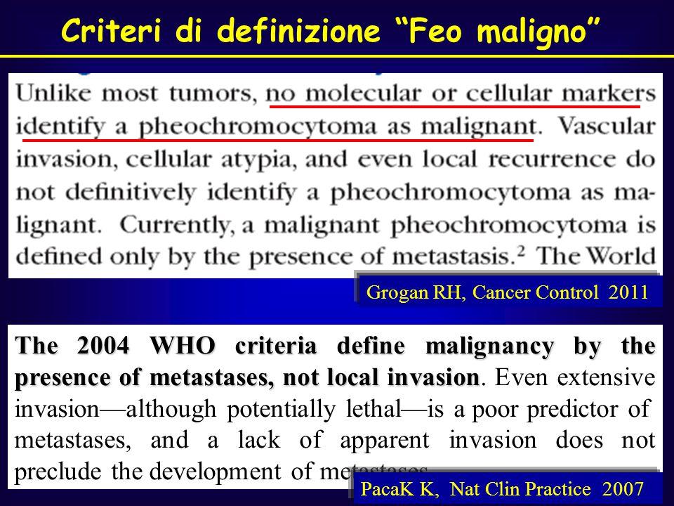 Meccanismi tumorigenesi:  Angiogenesi,  proliferazione cellulare,  apoptosi VEGF = vascular endothelial growh factor HIF=hypoxia - inducible factor FEO/ PGLs: alto grado di vascolarizzzione