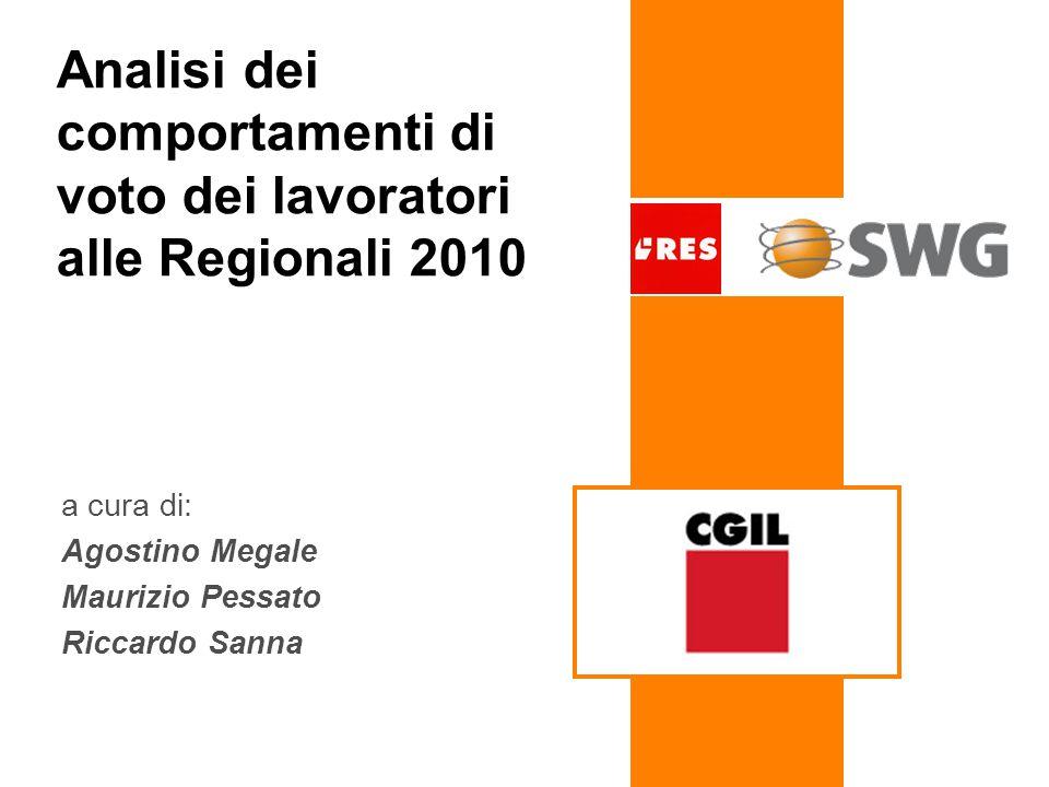 Analisi dei comportamenti di voto dei lavoratori alle Regionali 2010 a cura di: Agostino Megale Maurizio Pessato Riccardo Sanna