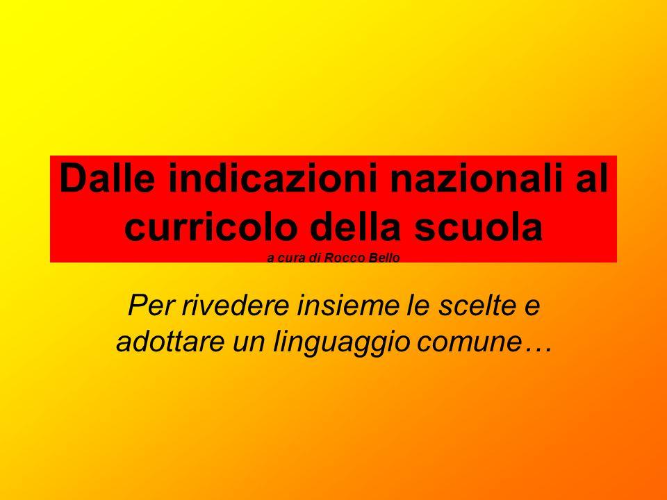 Dalle indicazioni nazionali al curricolo della scuola a cura di Rocco Bello Per rivedere insieme le scelte e adottare un linguaggio comune…