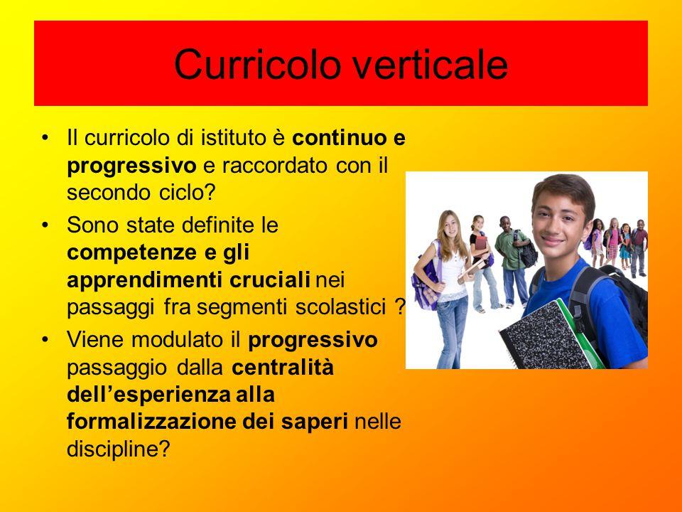 Curricolo verticale Il curricolo di istituto è continuo e progressivo e raccordato con il secondo ciclo? Sono state definite le competenze e gli appre