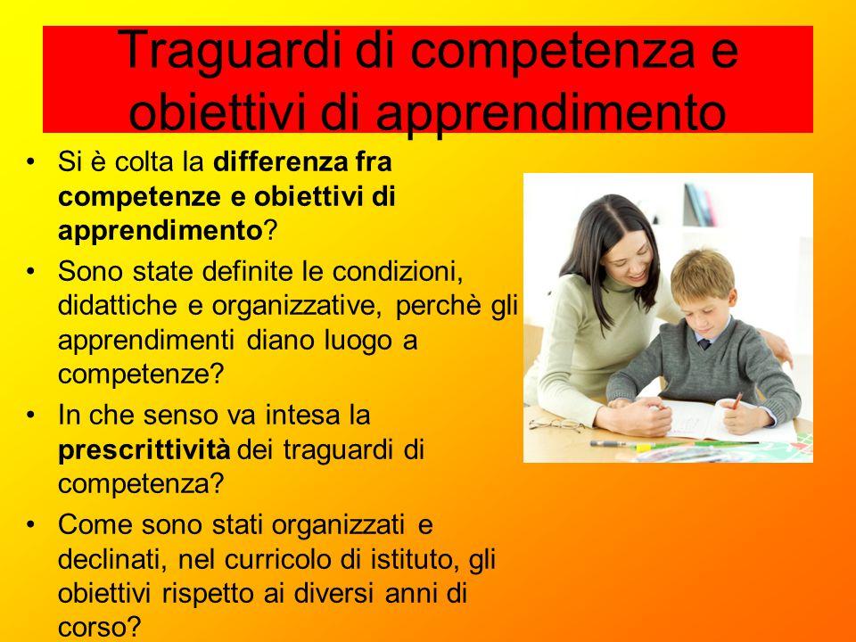 Traguardi di competenza e obiettivi di apprendimento Si è colta la differenza fra competenze e obiettivi di apprendimento? Sono state definite le cond