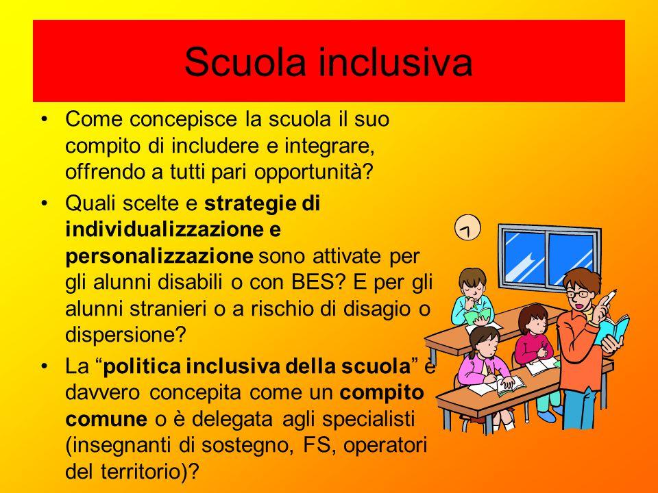 Scuola inclusiva Come concepisce la scuola il suo compito di includere e integrare, offrendo a tutti pari opportunità? Quali scelte e strategie di ind