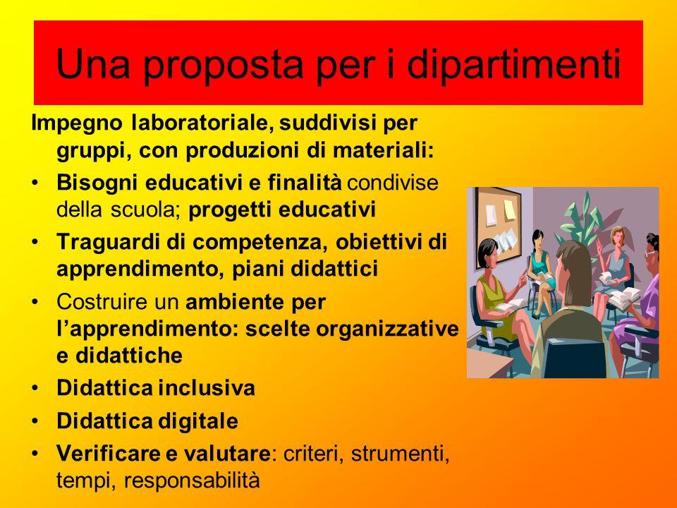 Una proposta per i dipartimenti Impegno laboratoriale, suddivisi per gruppi, con produzioni di materiali: Bisogni educativi e finalità condivise della