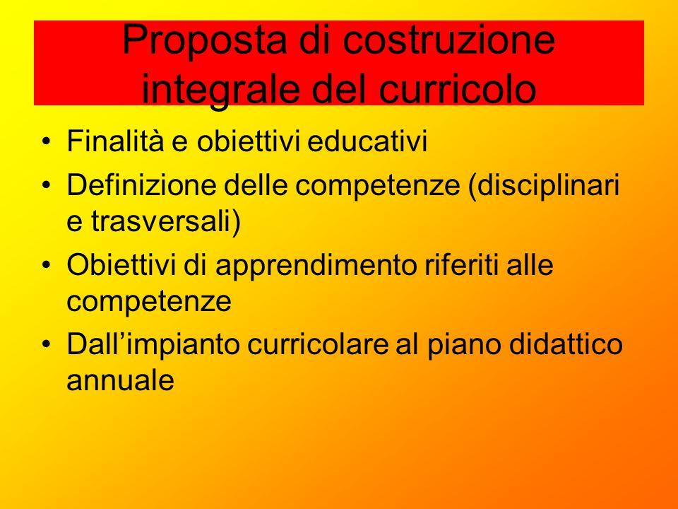 Proposta di costruzione integrale del curricolo Finalità e obiettivi educativi Definizione delle competenze (disciplinari e trasversali) Obiettivi di
