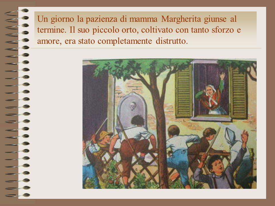 Un giorno la pazienza di mamma Margherita giunse al termine. Il suo piccolo orto, coltivato con tanto sforzo e amore, era stato completamente distrutt