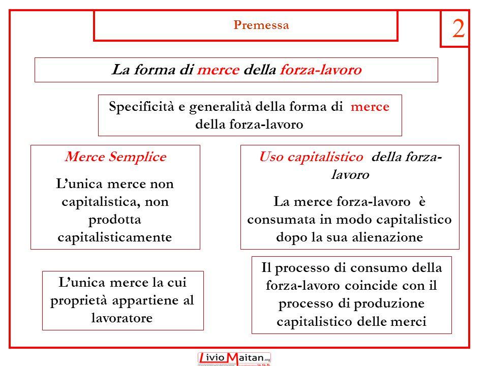 Premessa 2 La forma di merce della forza-lavoro Specificità e generalità della forma di merce della forza-lavoro L'unica merce la cui proprietà appart