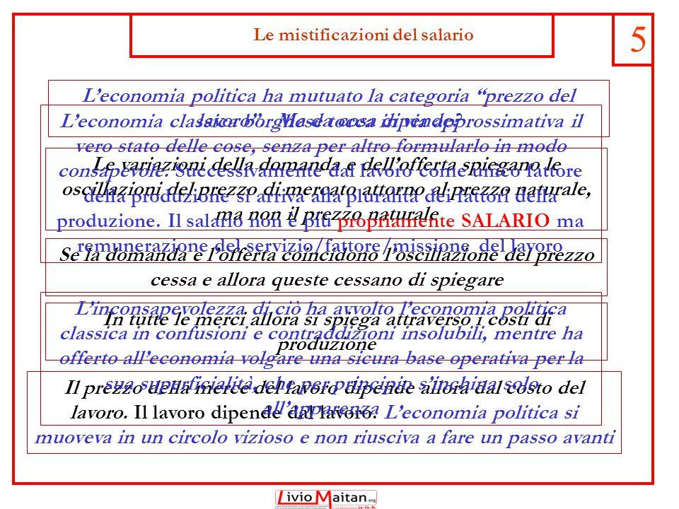 Le mistificazioni del salario 5 L'economia politica ha mutuato la categoria prezzo del lavoro .