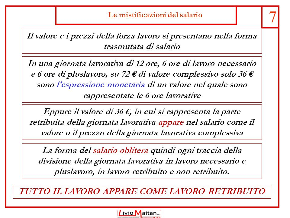 Le mistificazioni del salario 7 Il valore e i prezzi della forza lavoro si presentano nella forma trasmutata di salario Eppure il valore di 36 €, in c