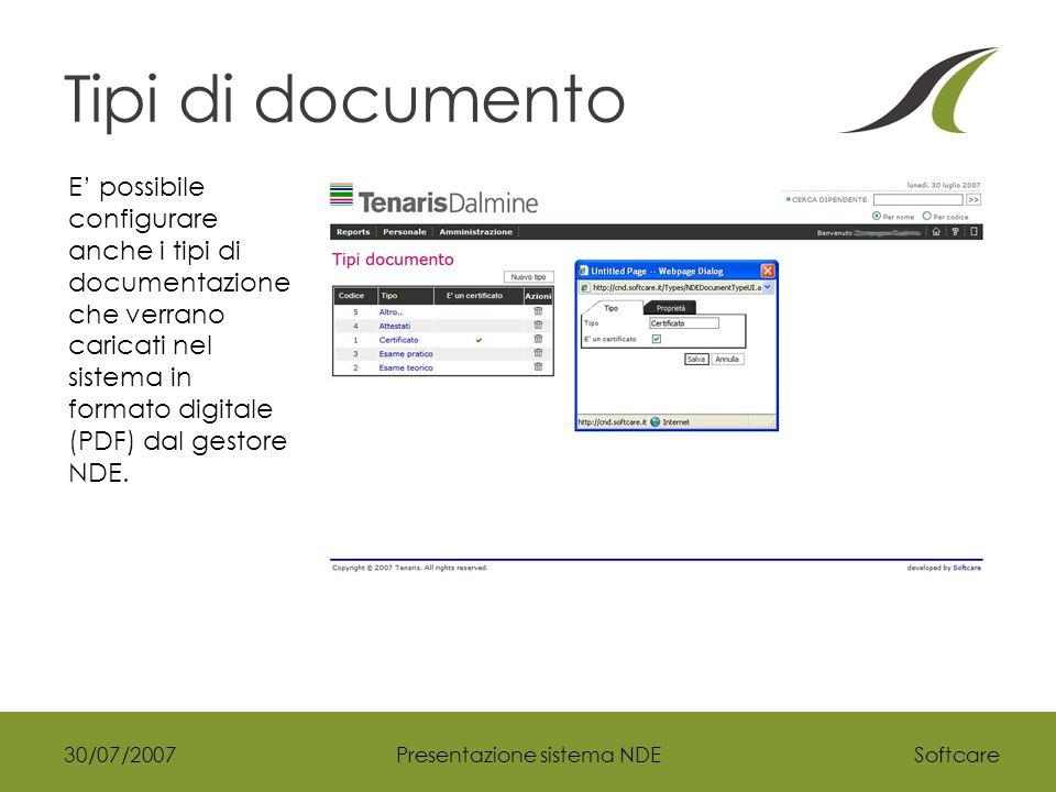 Softcare30/07/2007Presentazione sistema NDE Tipi di documento E' possibile configurare anche i tipi di documentazione che verrano caricati nel sistema in formato digitale (PDF) dal gestore NDE.