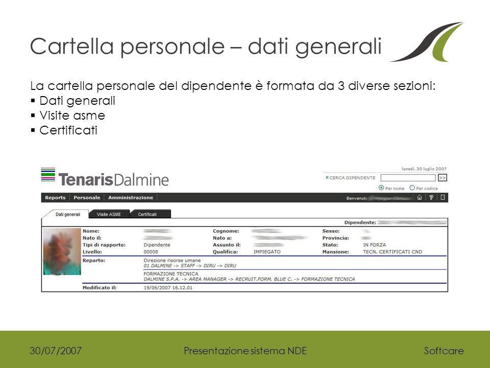 Softcare30/07/2007Presentazione sistema NDE Cartella personale – dati generali La cartella personale del dipendente è formata da 3 diverse sezioni:  Dati generali  Visite asme  Certificati