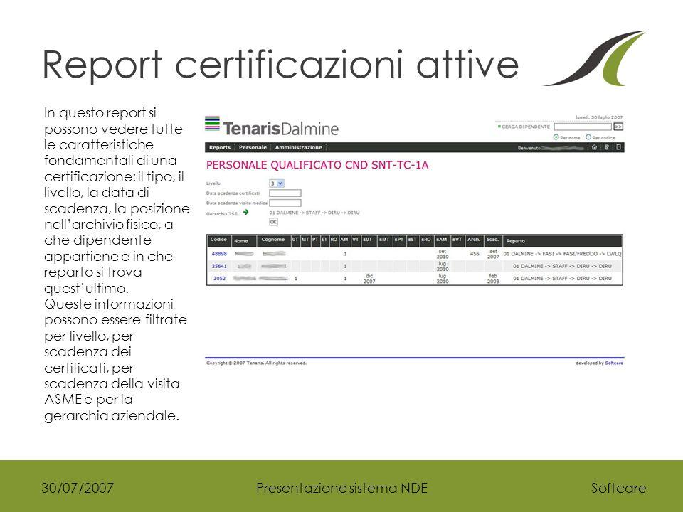 Softcare30/07/2007Presentazione sistema NDE Report certificazioni attive In questo report si possono vedere tutte le caratteristiche fondamentali di una certificazione: il tipo, il livello, la data di scadenza, la posizione nell'archivio fisico, a che dipendente appartiene e in che reparto si trova quest'ultimo.