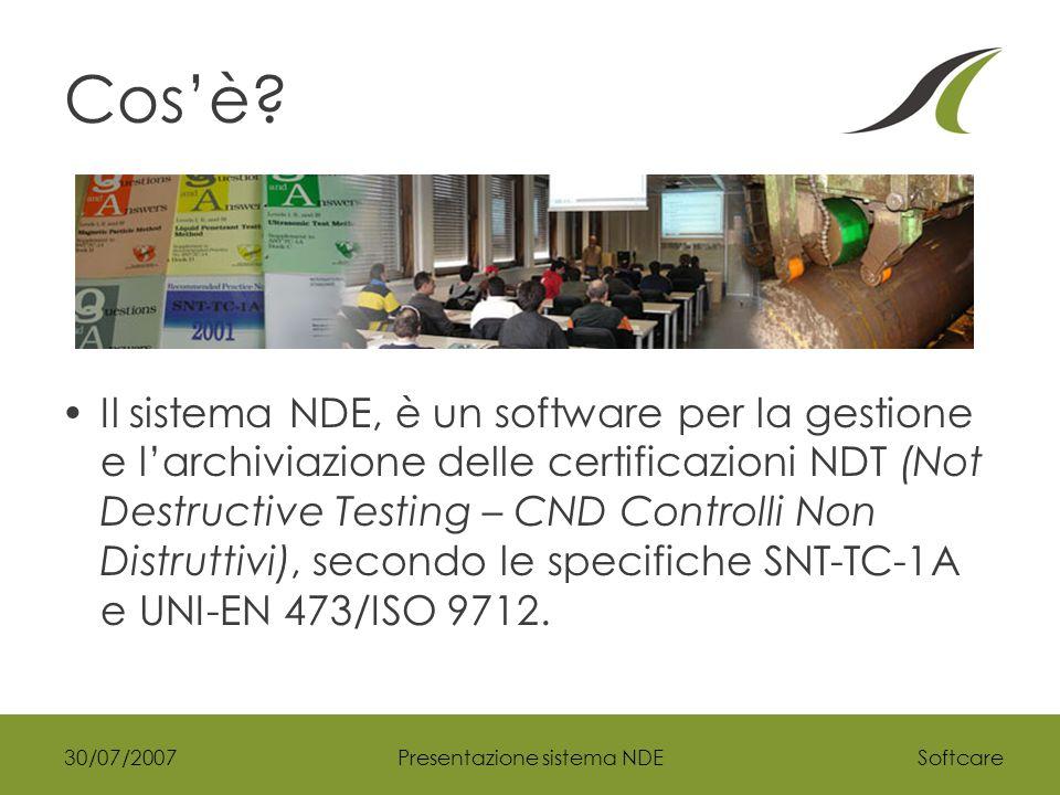 Softcare30/07/2007Presentazione sistema NDE Perchè.