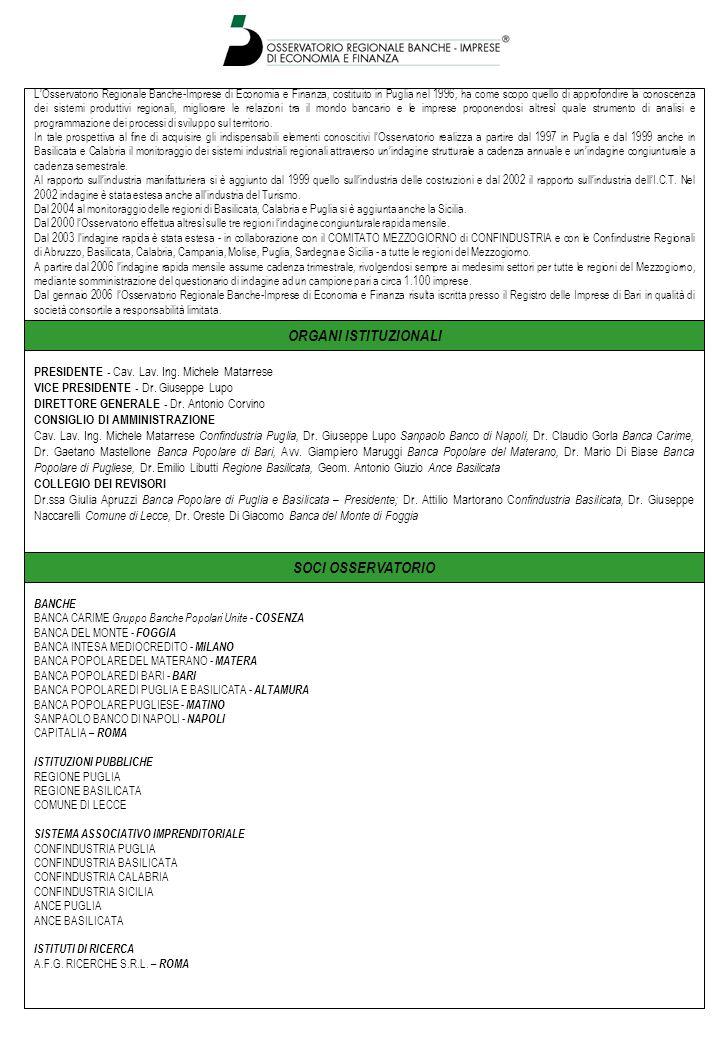 SOCI OSSERVATORIO L'Osservatorio Regionale Banche-Imprese di Economia e Finanza, costituito in Puglia nel 1996, ha come scopo quello di approfondire la conoscenza dei sistemi produttivi regionali, migliorare le relazioni tra il mondo bancario e le imprese proponendosi altresì quale strumento di analisi e programmazione dei processi di sviluppo sul territorio.