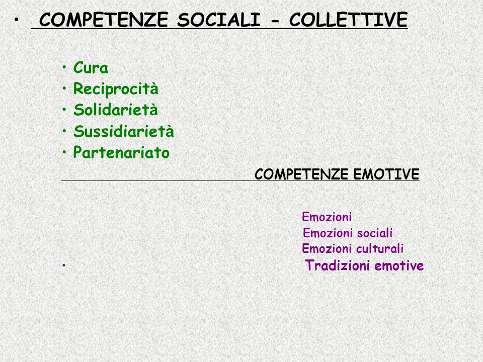COMPETENZE SOCIALI - COLLETTIVE Cura Reciprocit à Solidariet à Sussidiariet à Partenariato COMPETENZE EMOTIVE Emozioni Emozioni sociali Emozioni culturali Tradizioni emotive