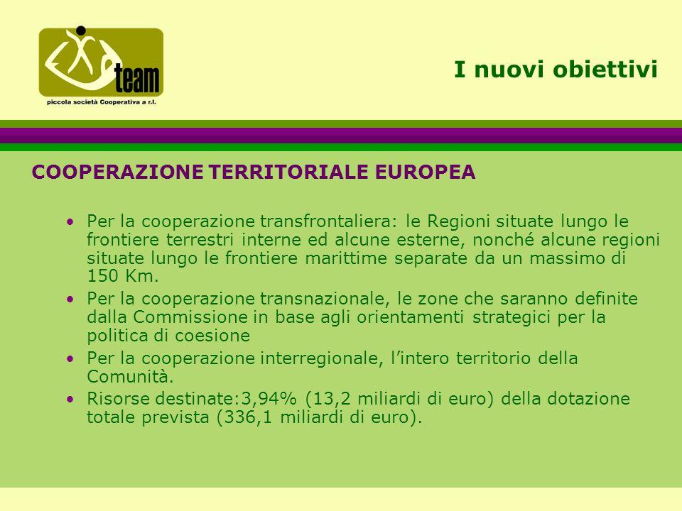 I nuovi obiettivi COOPERAZIONE TERRITORIALE EUROPEA Per la cooperazione transfrontaliera: le Regioni situate lungo le frontiere terrestri interne ed alcune esterne, nonché alcune regioni situate lungo le frontiere marittime separate da un massimo di 150 Km.
