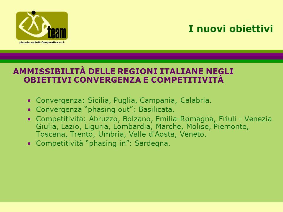 I nuovi obiettivi AMMISSIBILITÀ DELLE REGIONI ITALIANE NEGLI OBIETTIVI CONVERGENZA E COMPETITIVITÀ Convergenza: Sicilia, Puglia, Campania, Calabria.