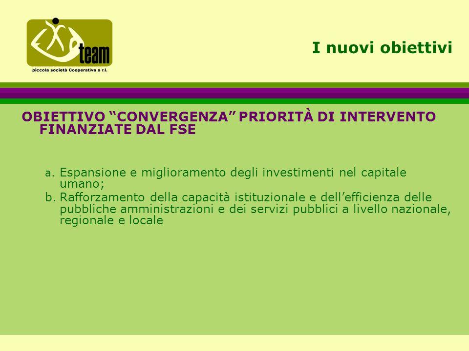 I nuovi obiettivi OBIETTIVO CONVERGENZA PRIORITÀ DI INTERVENTO FINANZIATE DAL FSE a.