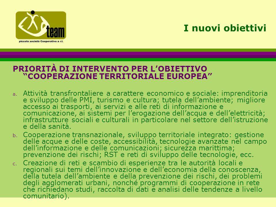 I nuovi obiettivi PRIORITÀ DI INTERVENTO PER L'OBIETTIVO COOPERAZIONE TERRITORIALE EUROPEA a.