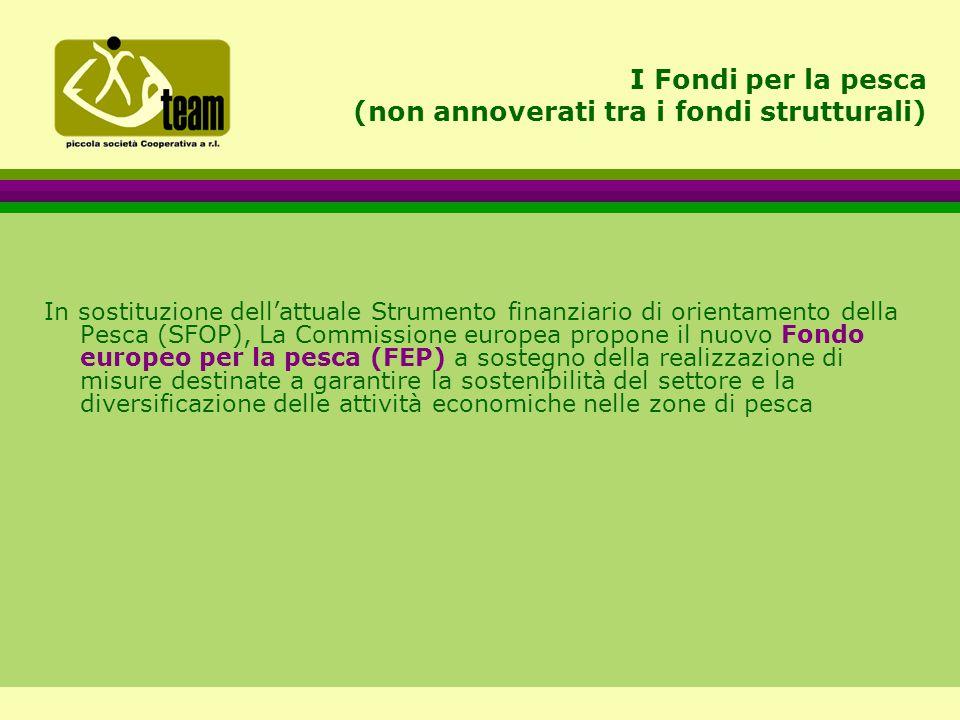 I Fondi per la pesca (non annoverati tra i fondi strutturali) In sostituzione dell'attuale Strumento finanziario di orientamento della Pesca (SFOP), La Commissione europea propone il nuovo Fondo europeo per la pesca (FEP) a sostegno della realizzazione di misure destinate a garantire la sostenibilità del settore e la diversificazione delle attività economiche nelle zone di pesca