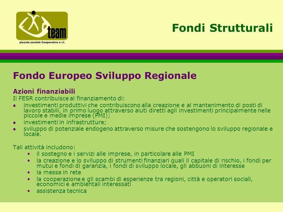 Fondi Strutturali Fondo Europeo Sviluppo Regionale Azioni finanziabili Il FESR contribuisce al finanziamento di: l investimenti produttivi che contribuiscono alla creazione e al mantenimento di posti di lavoro stabili, in primo luogo attraverso aiuti diretti agli investimenti principalmente nelle piccole e medie imprese (PMI); l investimenti in infrastrutture; l sviluppo di potenziale endogeno attraverso misure che sostengono lo sviluppo regionale e locale.