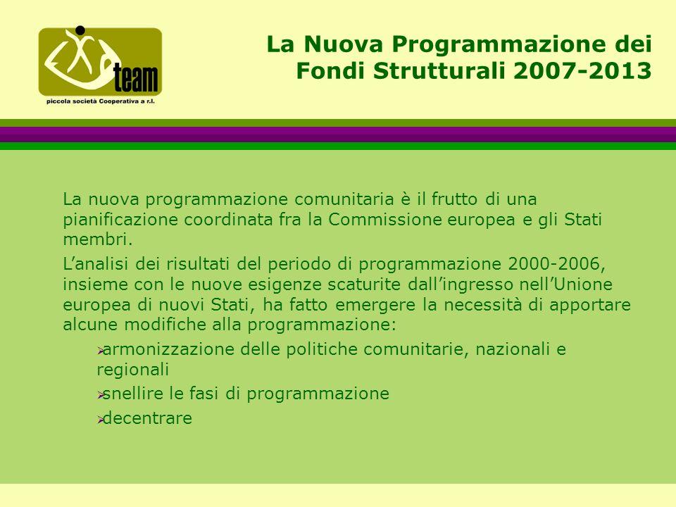 La Nuova Programmazione dei Fondi Strutturali 2007-2013 La nuova programmazione comunitaria è il frutto di una pianificazione coordinata fra la Commissione europea e gli Stati membri.