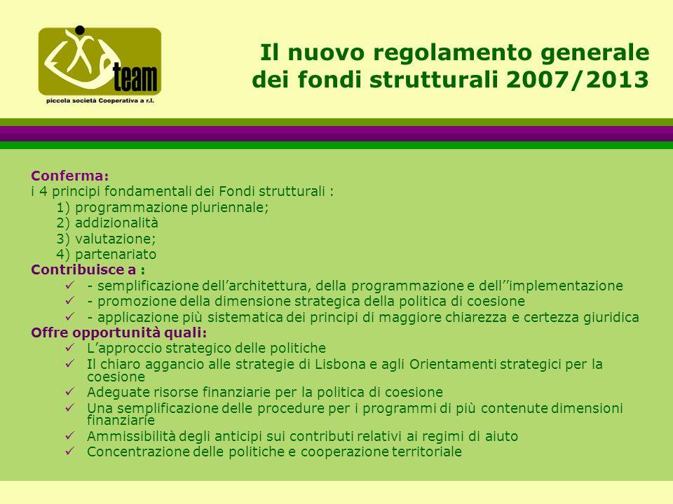 Il nuovo regolamento generale dei fondi strutturali 2007/2013 Conferma: i 4 principi fondamentali dei Fondi strutturali : 1) programmazione pluriennale; 2) addizionalità 3) valutazione; 4) partenariato Contribuisce a : - semplificazione dell'architettura, della programmazione e dell''implementazione - promozione della dimensione strategica della politica di coesione - applicazione più sistematica dei principi di maggiore chiarezza e certezza giuridica Offre opportunità quali: L'approccio strategico delle politiche Il chiaro aggancio alle strategie di Lisbona e agli Orientamenti strategici per la coesione Adeguate risorse finanziarie per la politica di coesione Una semplificazione delle procedure per i programmi di più contenute dimensioni finanziarie Ammissibilità degli anticipi sui contributi relativi ai regimi di aiuto Concentrazione delle politiche e cooperazione territoriale