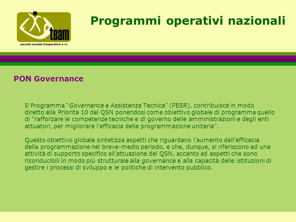 Programmi operativi nazionali PON Governance Il Programma Governance e Assistenza Tecnica (FESR), contribuisce in modo diretto alla Priorità 10 del QSN ponendosi come obiettivo globale di programma quello di rafforzare le competenze tecniche e di governo delle amministrazioni e degli enti attuatori, per migliorare l'efficacia della programmazione unitaria .