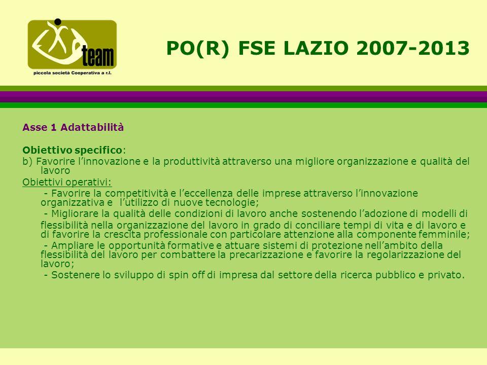 PO(R) FSE LAZIO 2007-2013 Asse 1 Adattabilità Obiettivo specifico: b) Favorire l'innovazione e la produttività attraverso una migliore organizzazione e qualità del lavoro Obiettivi operativi: - Favorire la competitività e l'eccellenza delle imprese attraverso l'innovazione organizzativa el'utilizzo di nuove tecnologie; - Migliorare la qualità delle condizioni di lavoro anche sostenendo l'adozione di modelli di flessibilità nella organizzazione del lavoro in grado di conciliare tempi di vita e di lavoro e di favorire la crescita professionale con particolare attenzione alla componente femminile; - Ampliare le opportunità formative e attuare sistemi di protezione nell'ambito della flessibilità del lavoro per combattere la precarizzazione e favorire la regolarizzazione del lavoro; - Sostenere lo sviluppo di spin off di impresa dal settore della ricerca pubblico e privato.