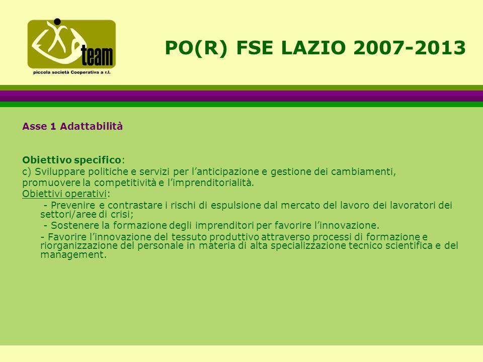 PO(R) FSE LAZIO 2007-2013 Asse 1 Adattabilità Obiettivo specifico: c) Sviluppare politiche e servizi per l'anticipazione e gestione dei cambiamenti, promuovere la competitività e l'imprenditorialità.