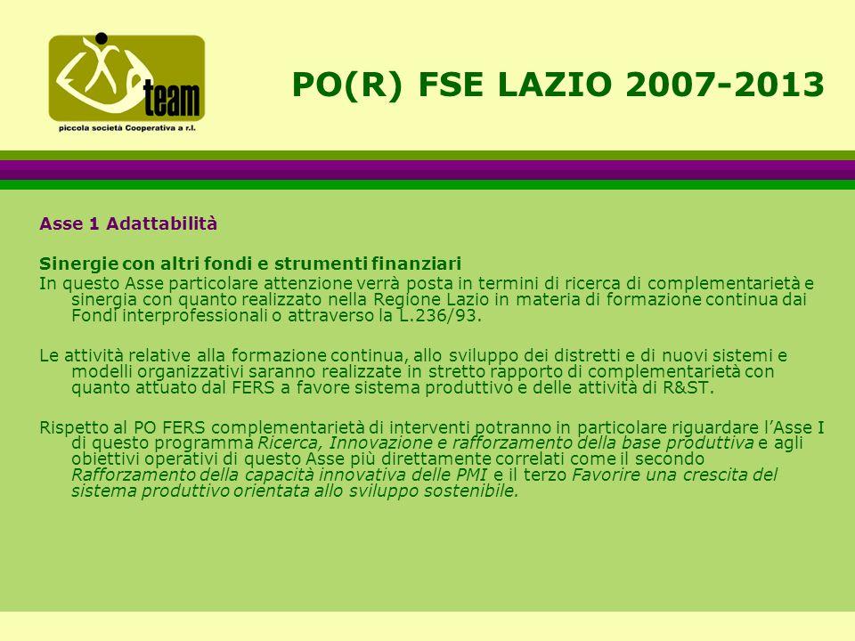 PO(R) FSE LAZIO 2007-2013 Asse 1 Adattabilità Sinergie con altri fondi e strumenti finanziari In questo Asse particolare attenzione verrà posta in termini di ricerca di complementarietà e sinergia con quanto realizzato nella Regione Lazio in materia di formazione continua dai Fondi interprofessionali o attraverso la L.236/93.