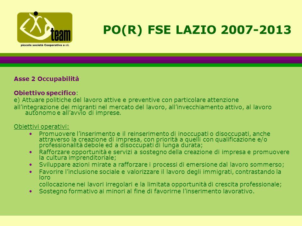 PO(R) FSE LAZIO 2007-2013 Asse 2 Occupabilità Obiettivo specifico: e) Attuare politiche del lavoro attive e preventive con particolare attenzione all'integrazione dei migranti nel mercato del lavoro, all'invecchiamento attivo, al lavoro autonomo e all'avvio di imprese.