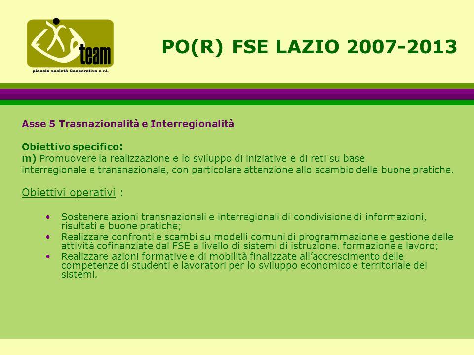 PO(R) FSE LAZIO 2007-2013 Asse 5 Trasnazionalità e Interregionalità Obiettivo specifico : m) Promuovere la realizzazione e lo sviluppo di iniziative e di reti su base interregionale e transnazionale, con particolare attenzione allo scambio delle buone pratiche.