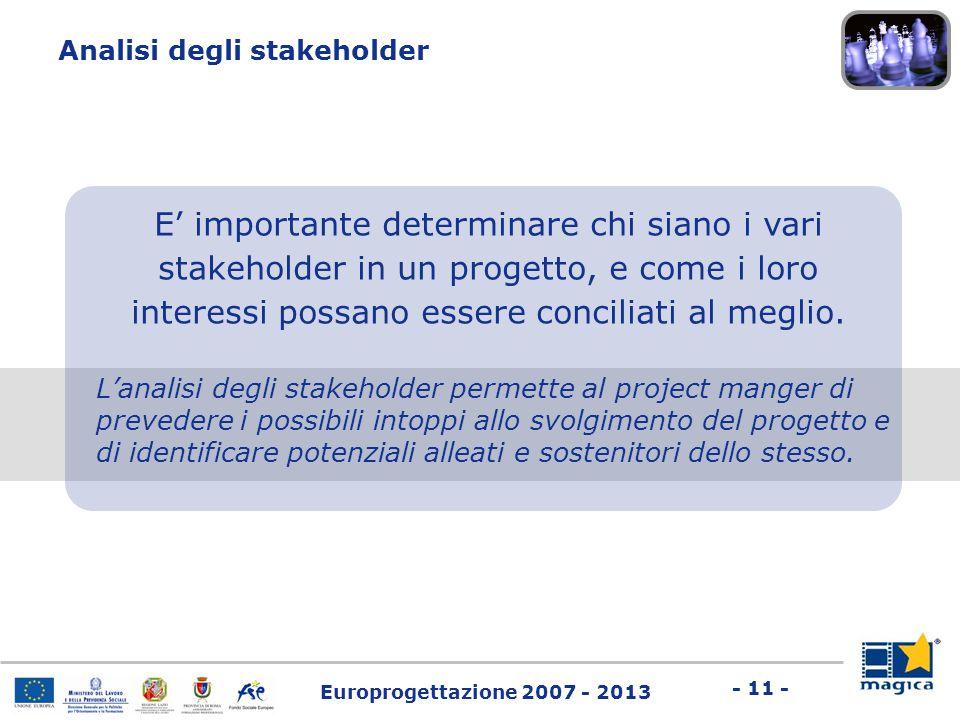 Europrogettazione 2007 - 2013 - 11 - E' importante determinare chi siano i vari stakeholder in un progetto, e come i loro interessi possano essere con