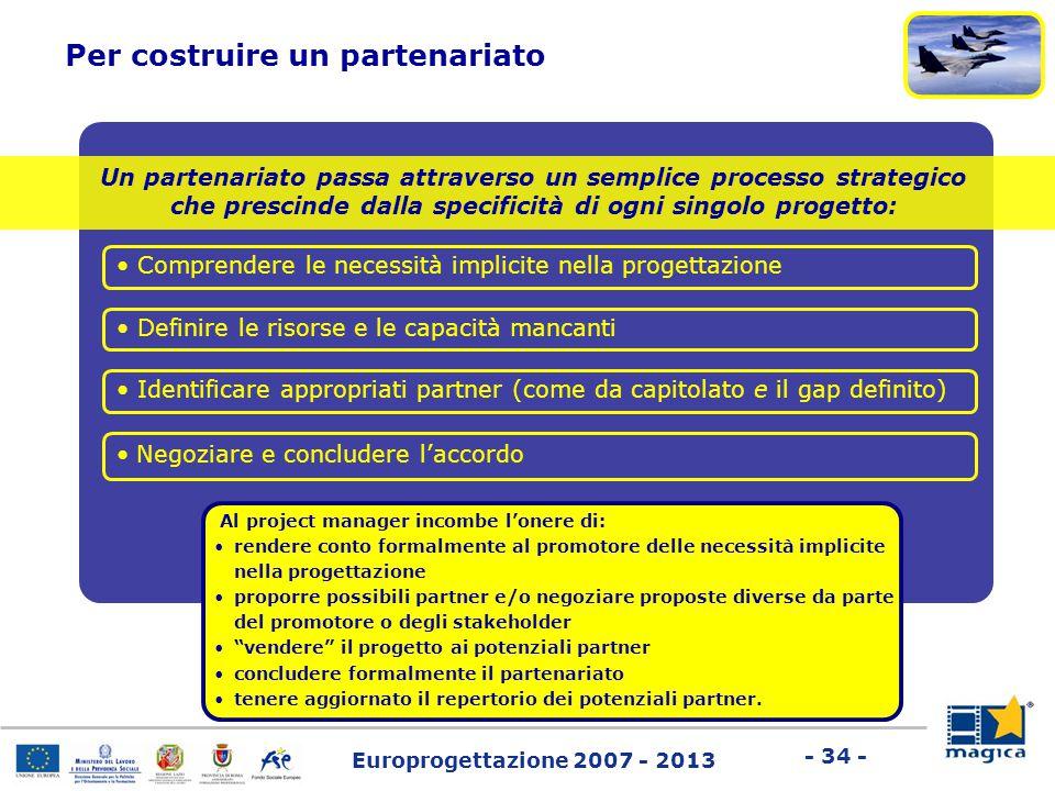 Europrogettazione 2007 - 2013 - 34 - Un partenariato passa attraverso un semplice processo strategico che prescinde dalla specificità di ogni singolo