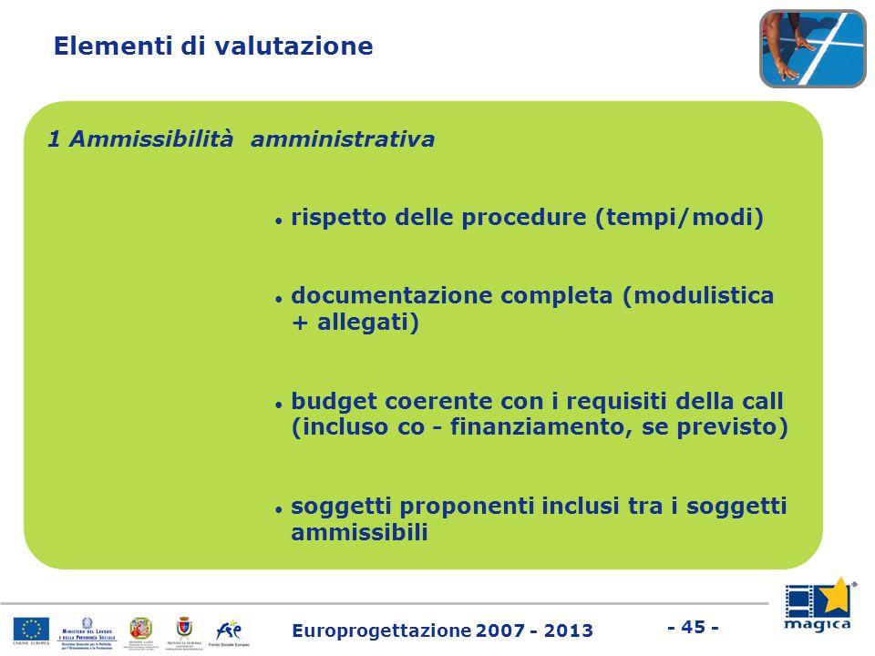 Europrogettazione 2007 - 2013 - 45 - Elementi di valutazione 1 Ammissibilità amministrativa ● rispetto delle procedure (tempi/modi) ● documentazione c