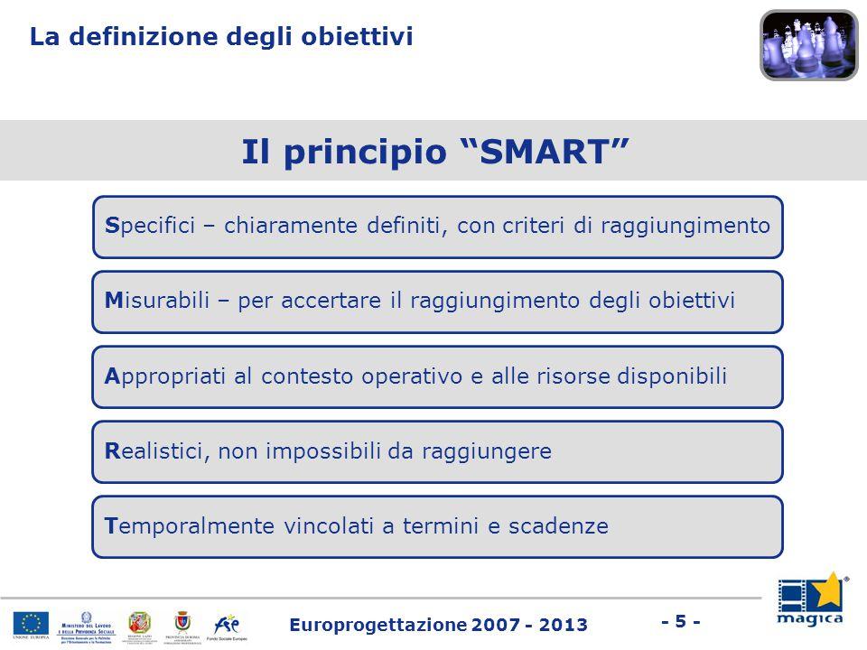 """Europrogettazione 2007 - 2013 - 5 - Il principio """"SMART"""" Specifici – chiaramente definiti, con criteri di raggiungimento La definizione degli obiettiv"""