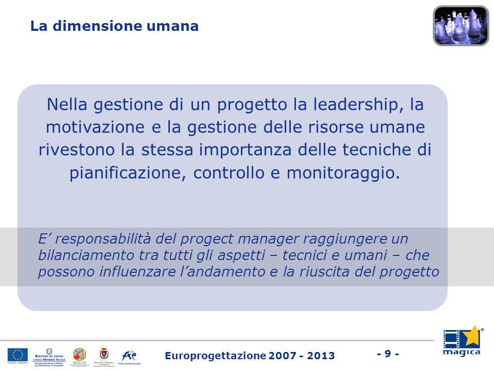 Europrogettazione 2007 - 2013 - 9 - Nella gestione di un progetto la leadership, la motivazione e la gestione delle risorse umane rivestono la stessa