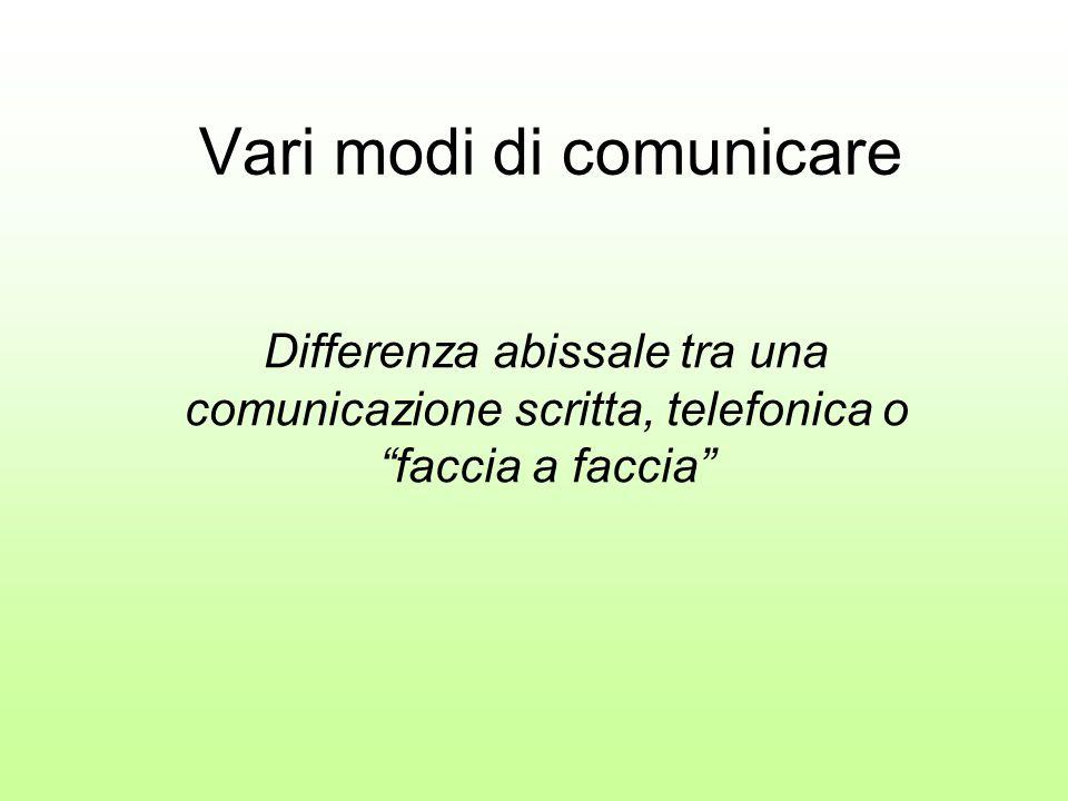 """Vari modi di comunicare Differenza abissale tra una comunicazione scritta, telefonica o """"faccia a faccia"""""""