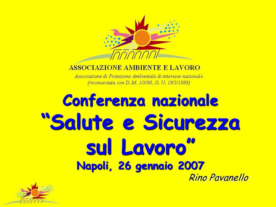 Conferenza nazionale Salute e Sicurezza sul Lavoro Napoli, 26 gennaio 2007 Rino Pavanello Rino Pavanello