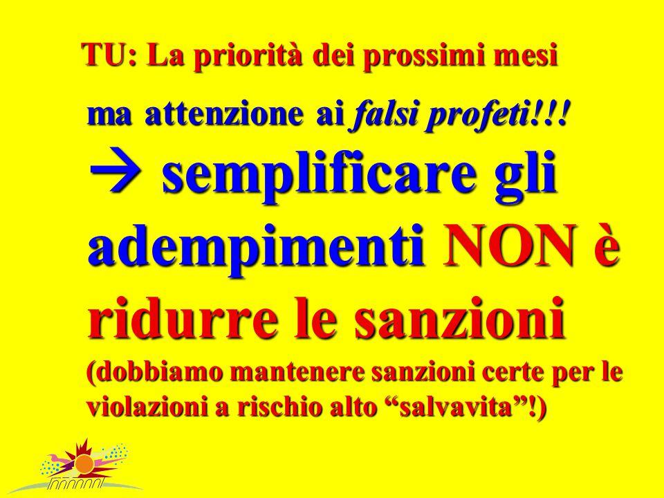 TU: La priorità dei prossimi mesi ma attenzione ai falsi profeti!!.