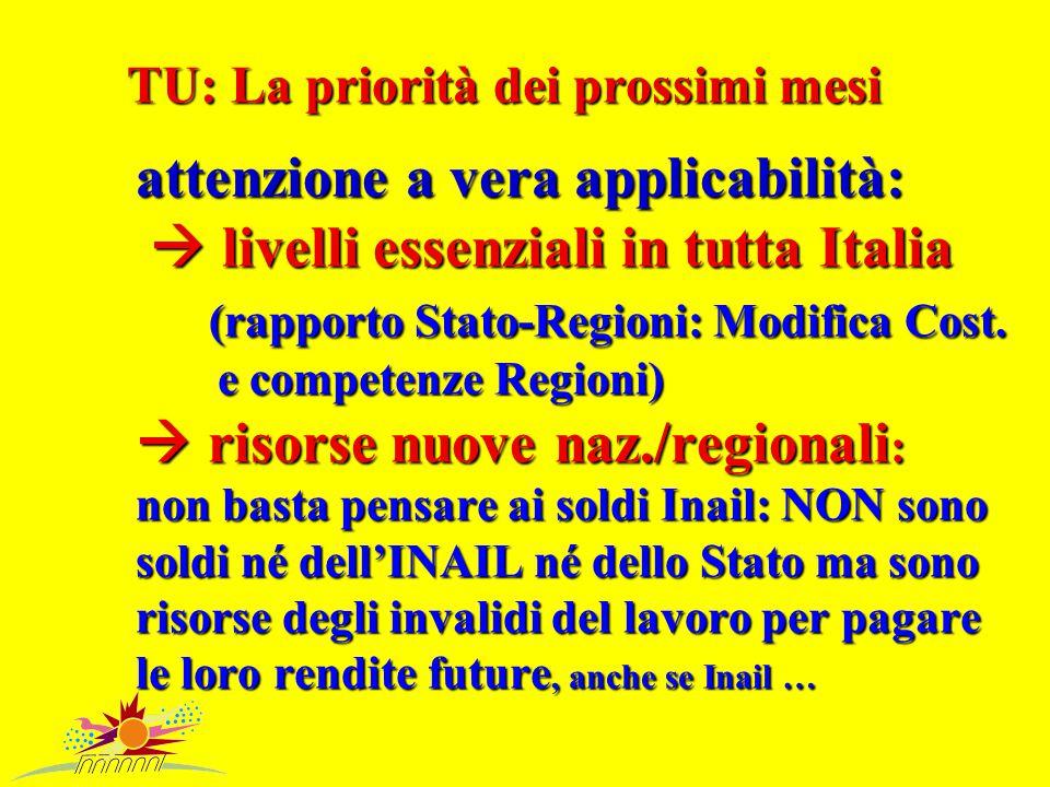 TU: La priorità dei prossimi mesi attenzione a vera applicabilità:  livelli essenziali in tutta Italia (rapporto Stato-Regioni: Modifica Cost.