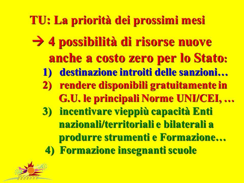 TU: La priorità dei prossimi mesi  4 possibilità di risorse nuove anche a costo zero per lo Stato : 1) destinazione introiti delle sanzioni… 2) rendere disponibili gratuitamente in G.U.