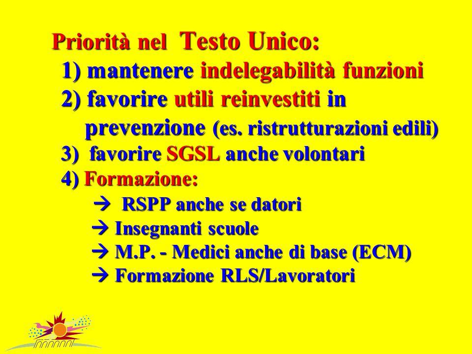 Priorità nel Testo Unico: 1) mantenere indelegabilità funzioni 2) favorire utili reinvestiti in prevenzione (es.