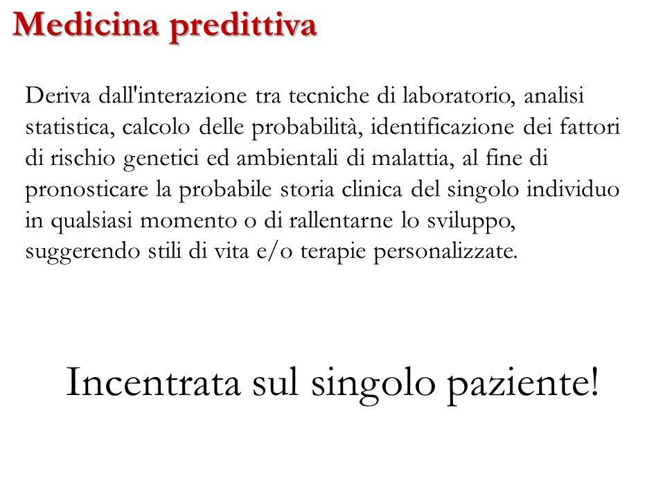 Medicina predittiva Incentrata sul singolo paziente! Deriva dall'interazione tra tecniche di laboratorio, analisi statistica, calcolo delle probabilit